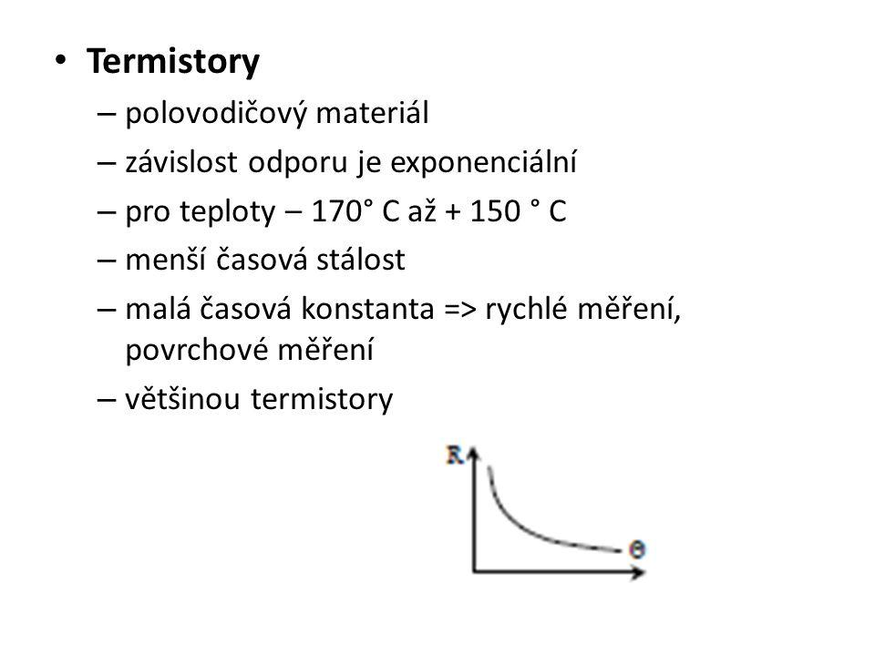 Termistory polovodičový materiál závislost odporu je exponenciální