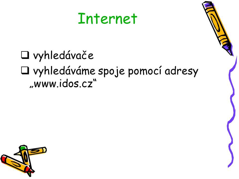 """Internet vyhledávače vyhledáváme spoje pomocí adresy """"www.idos.cz"""