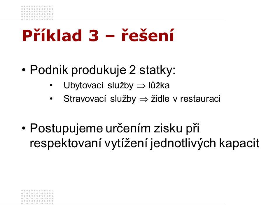 Příklad 3 – řešení Podnik produkuje 2 statky: