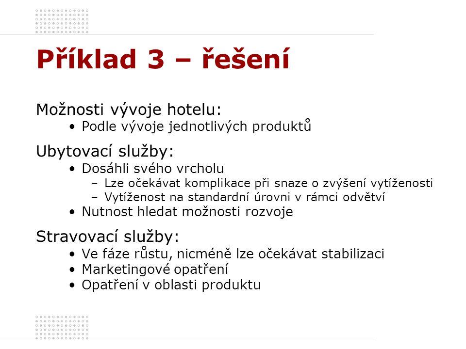 Příklad 3 – řešení Možnosti vývoje hotelu: Ubytovací služby: