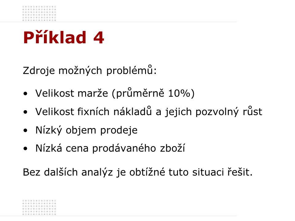 Příklad 4 Zdroje možných problémů: Velikost marže (průměrně 10%)