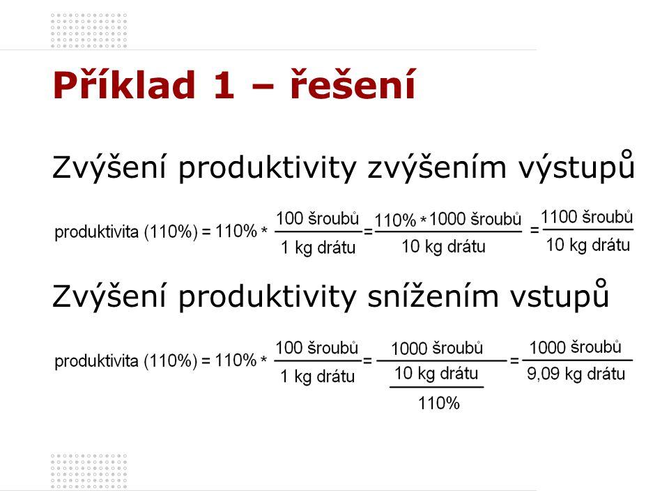 Příklad 1 – řešení Zvýšení produktivity zvýšením výstupů