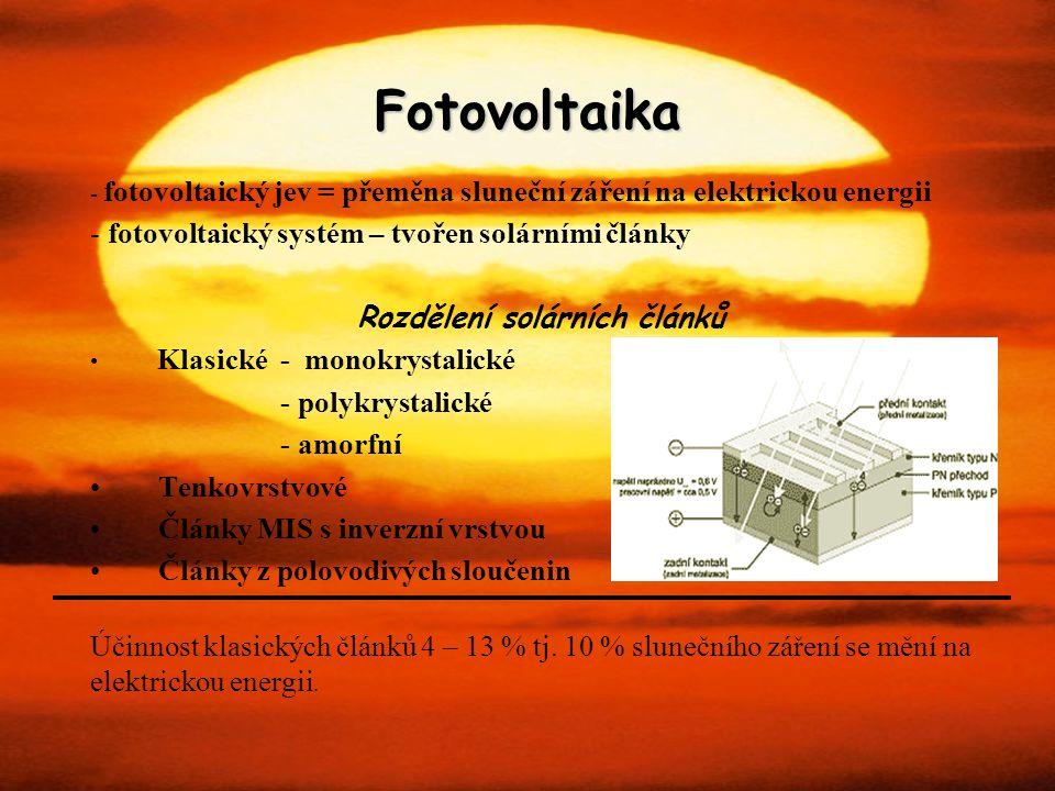 Rozdělení solárních článků