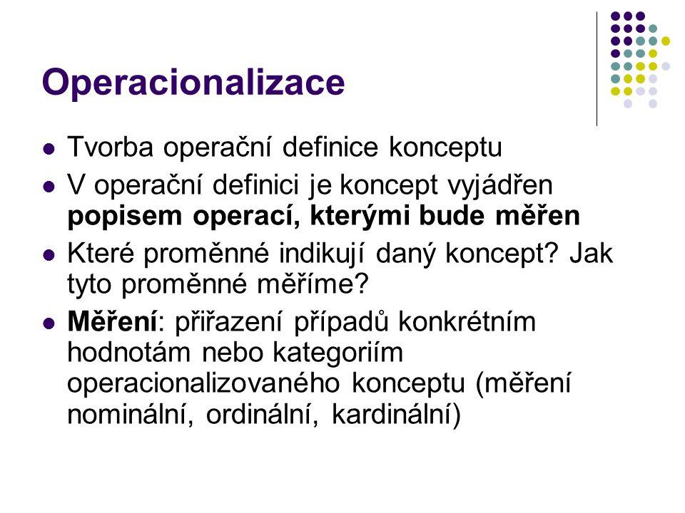 Operacionalizace Tvorba operační definice konceptu