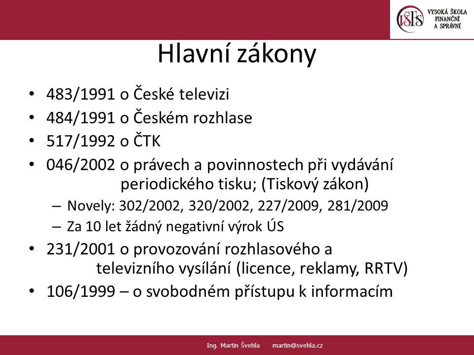 Hlavní zákony 483/1991 o České televizi 484/1991 o Českém rozhlase