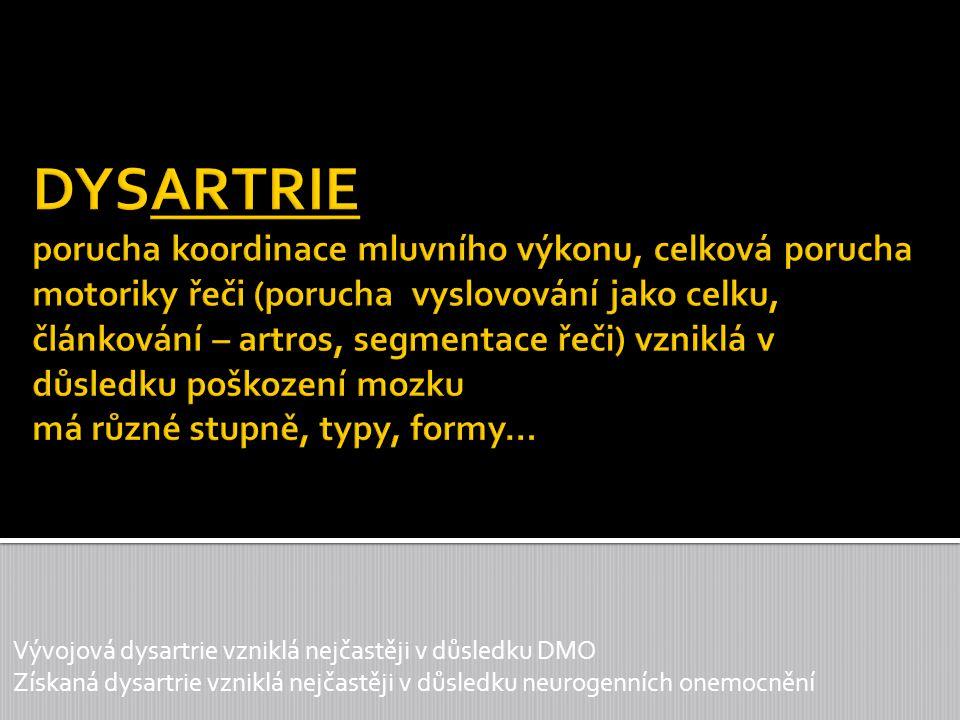 DYSARTRIE porucha koordinace mluvního výkonu, celková porucha motoriky řeči (porucha vyslovování jako celku, článkování – artros, segmentace řeči) vzniklá v důsledku poškození mozku má různé stupně, typy, formy…