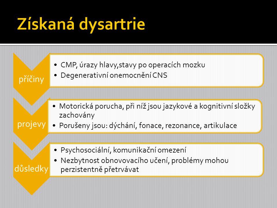 Získaná dysartrie příčiny CMP, úrazy hlavy,stavy po operacích mozku