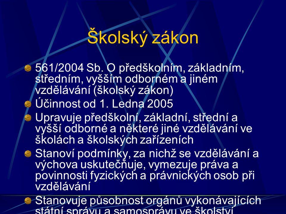 Školský zákon 561/2004 Sb. O předškolním, základním, středním, vyšším odborném a jiném vzdělávání (školský zákon)