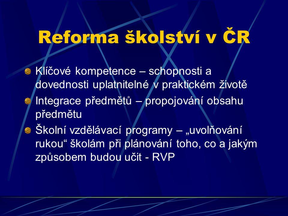 Reforma školství v ČR Klíčové kompetence – schopnosti a dovednosti uplatnitelné v praktickém životě.