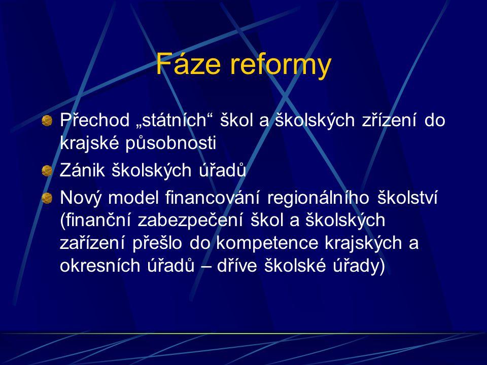"""Fáze reformy Přechod """"státních škol a školských zřízení do krajské působnosti. Zánik školských úřadů."""