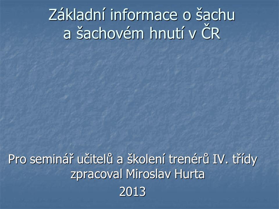 Základní informace o šachu a šachovém hnutí v ČR
