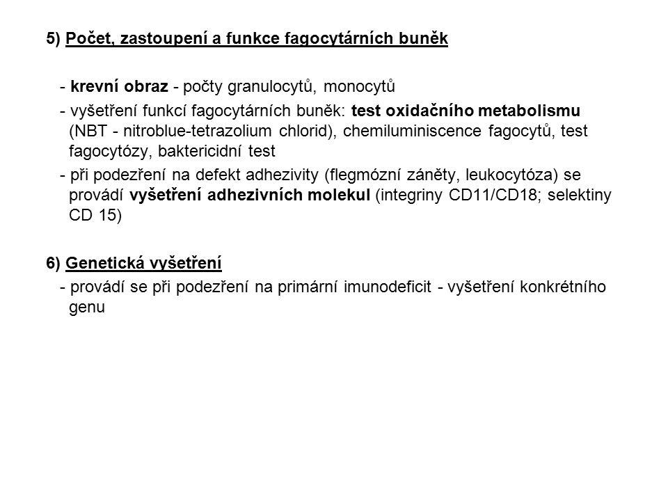 5) Počet, zastoupení a funkce fagocytárních buněk