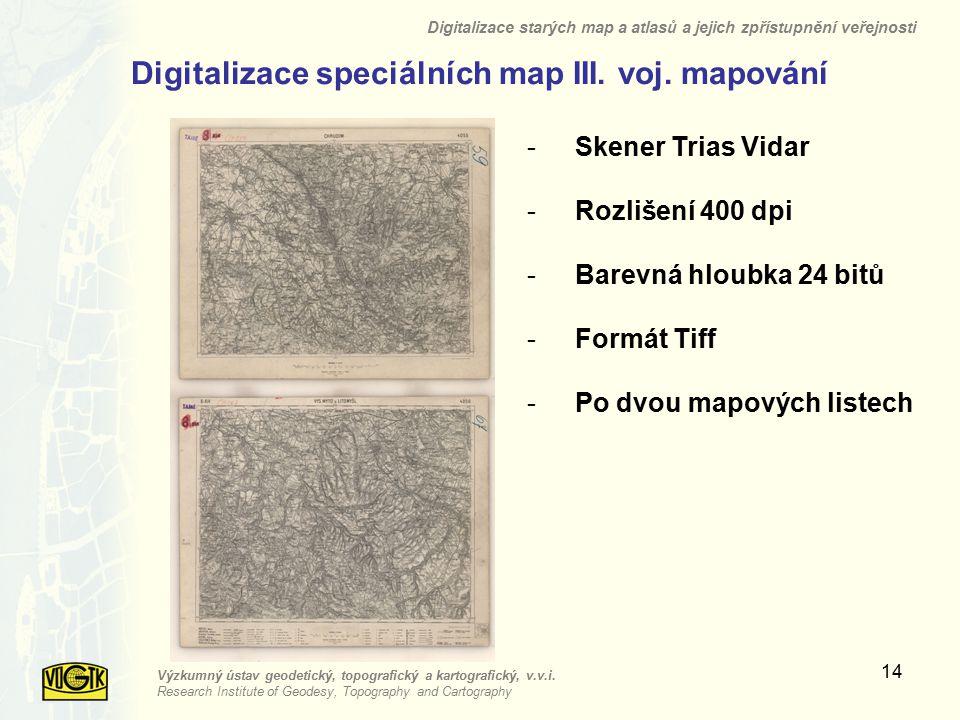 Digitalizace speciálních map III. voj. mapování