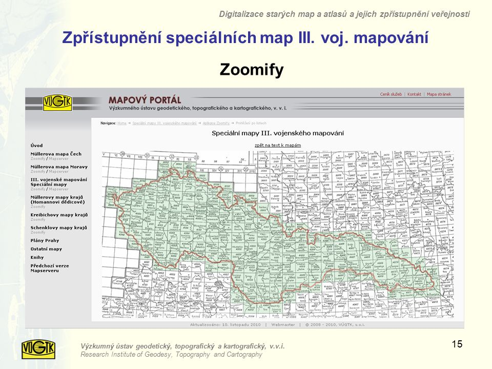 Zpřístupnění speciálních map III. voj. mapování