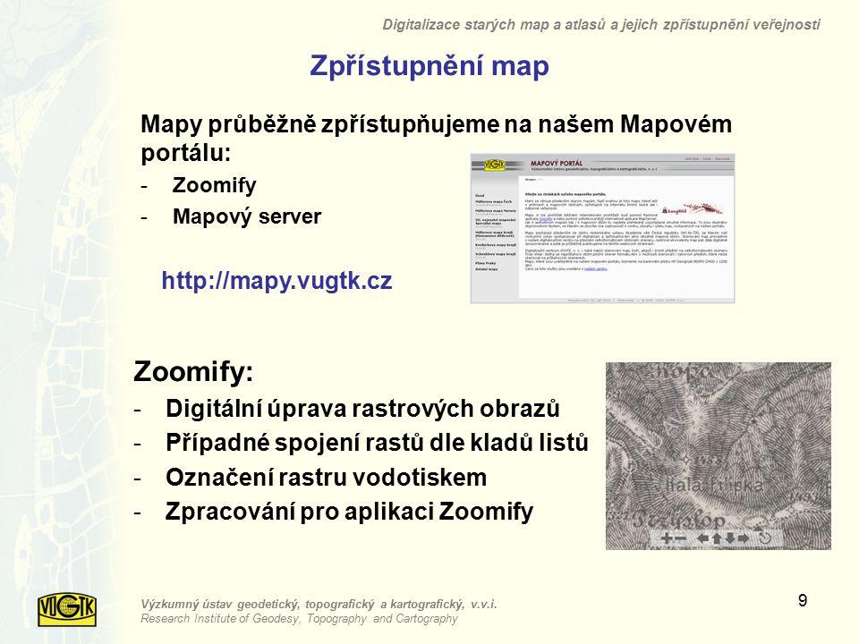 Zpřístupnění map Zoomify:
