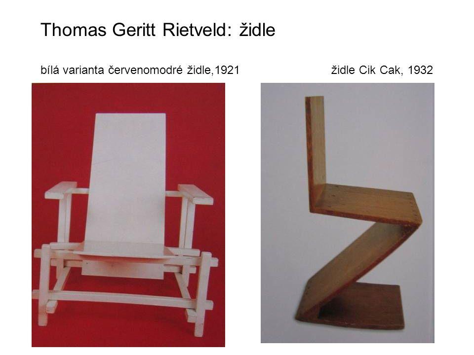 Thomas Geritt Rietveld: židle bílá varianta červenomodré židle,1921