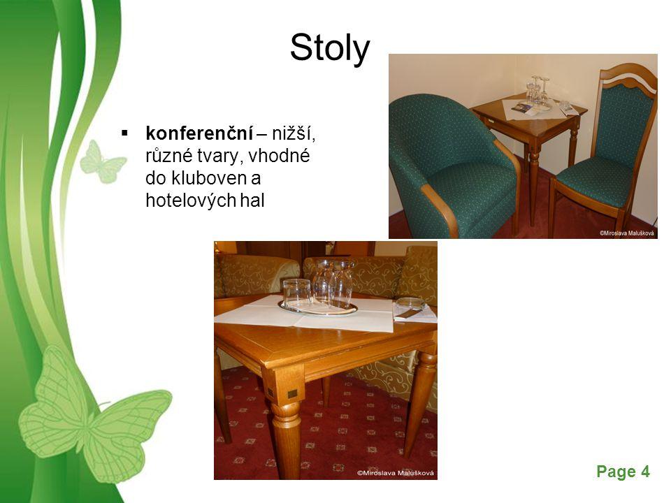 Stoly konferenční – nižší, různé tvary, vhodné do kluboven a hotelových hal