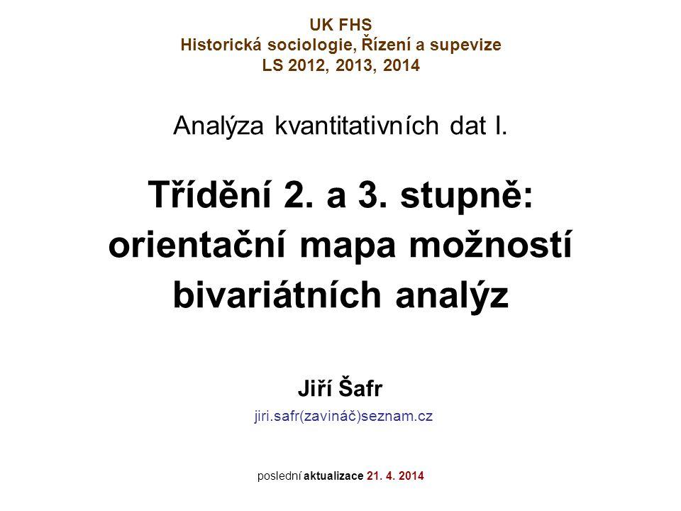 Třídění 2. a 3. stupně: orientační mapa možností bivariátních analýz
