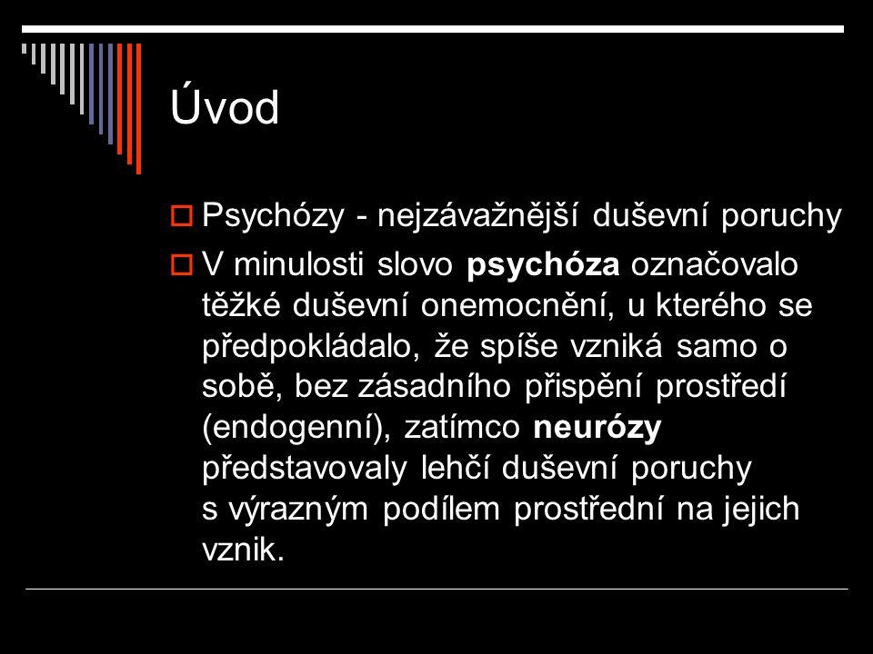 Úvod Psychózy - nejzávažnější duševní poruchy