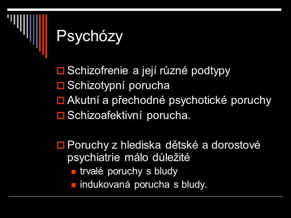 Psychózy Schizofrenie a její různé podtypy Schizotypní porucha