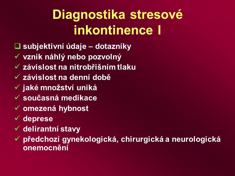 Diagnostika stresové inkontinence I