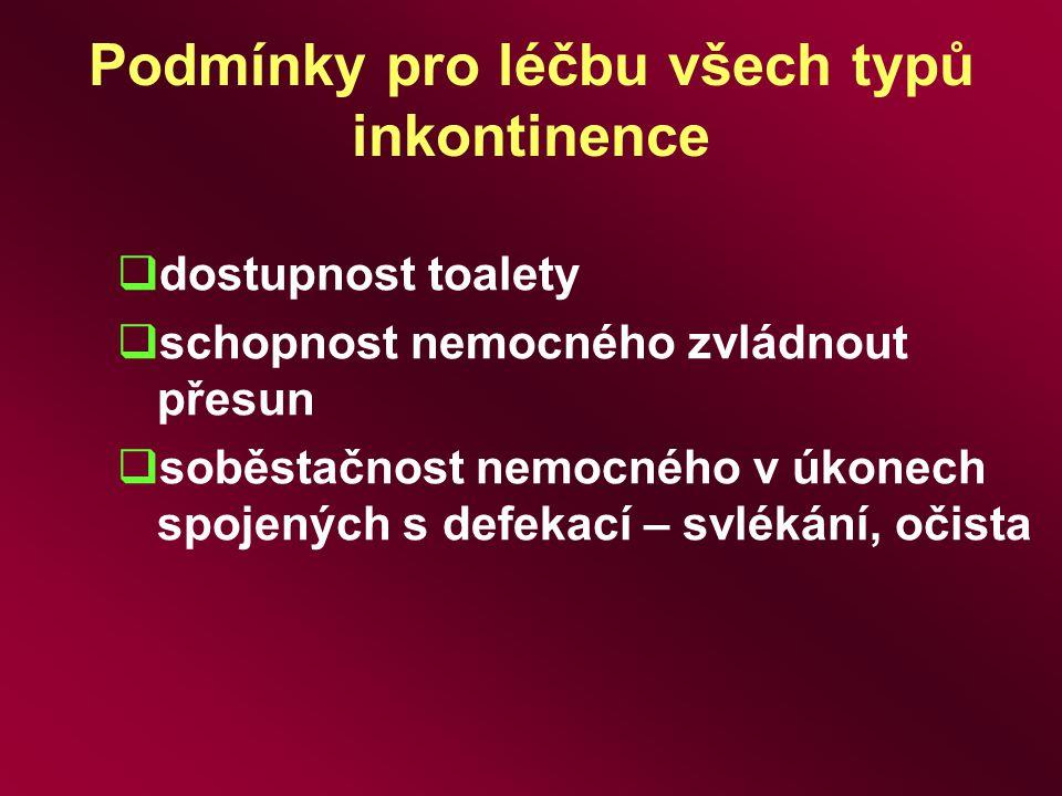 Podmínky pro léčbu všech typů inkontinence