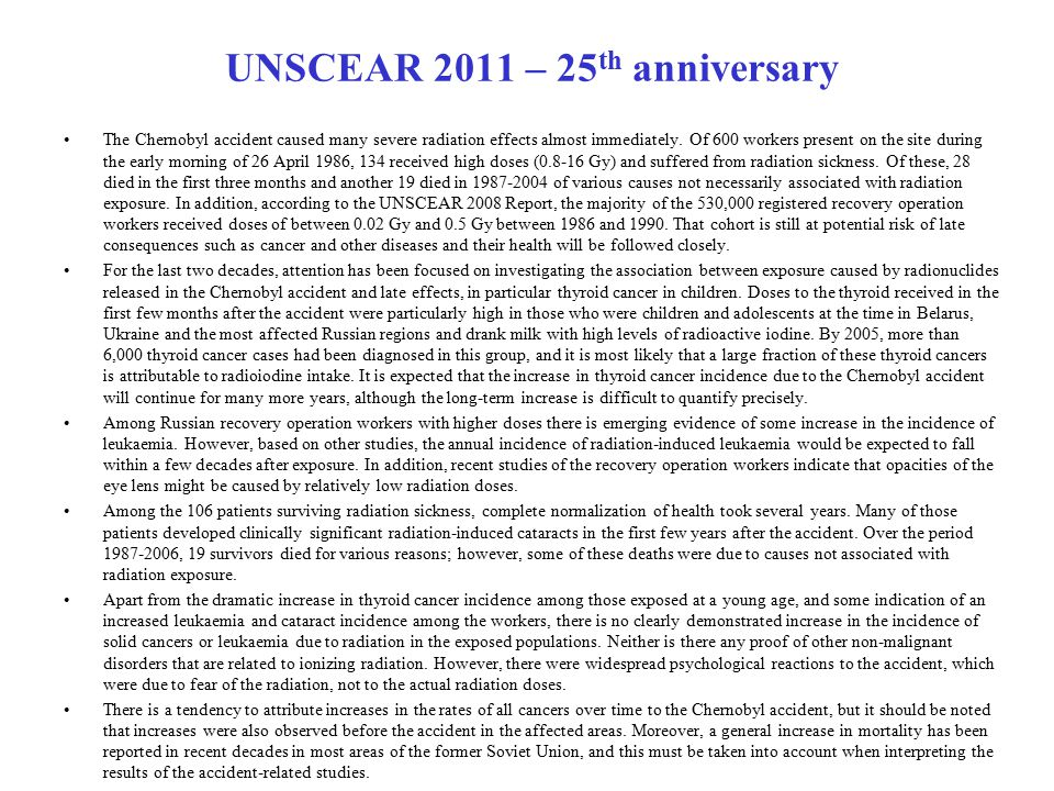 UNSCEAR 2011 – 25th anniversary