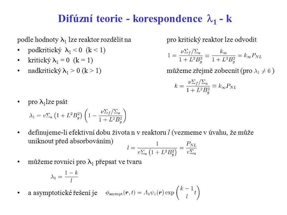 Difúzní teorie - korespondence l1 - k