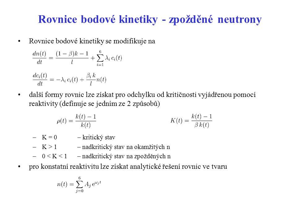 Rovnice bodové kinetiky - zpožděné neutrony