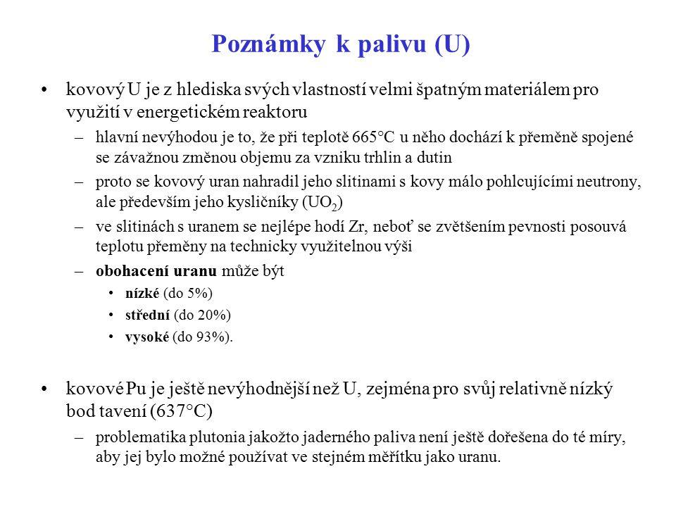 Poznámky k palivu (U) kovový U je z hlediska svých vlastností velmi špatným materiálem pro využití v energetickém reaktoru.