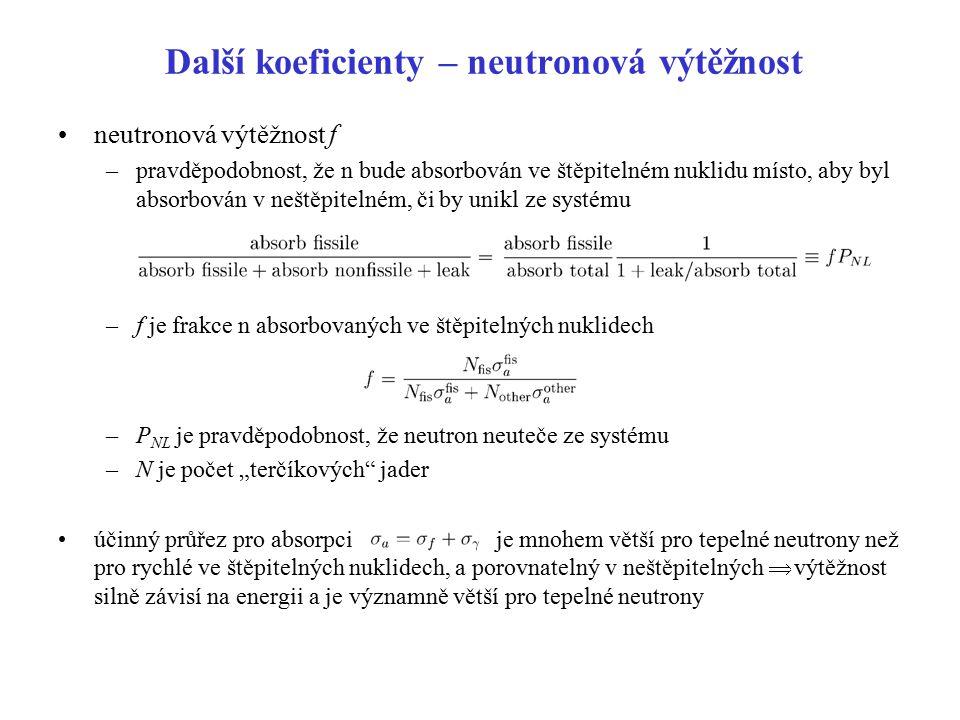 Další koeficienty – neutronová výtěžnost