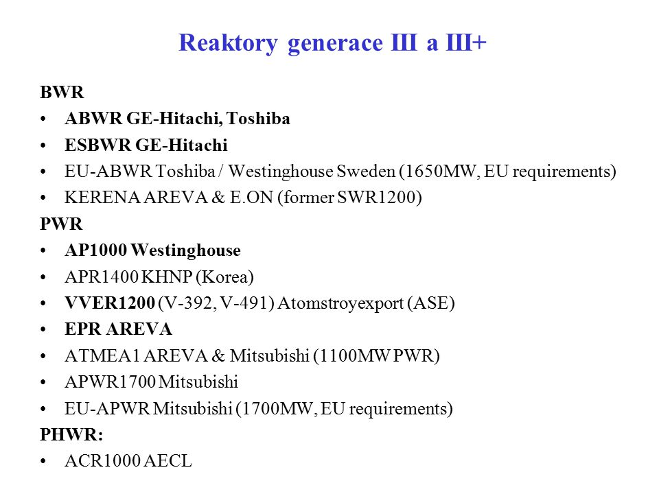 Reaktory generace III a III+