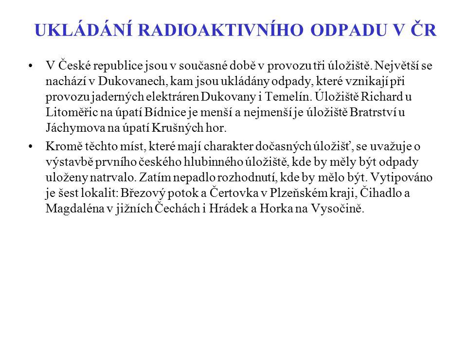 UKLÁDÁNÍ RADIOAKTIVNÍHO ODPADU V ČR