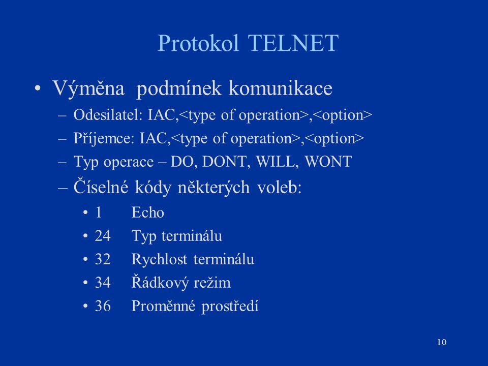 Protokol TELNET Výměna podmínek komunikace