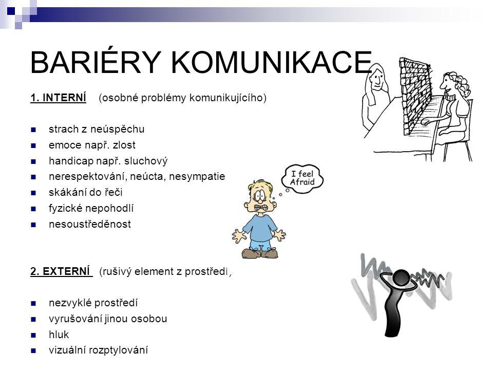 BARIÉRY KOMUNIKACE 1. INTERNÍ (osobné problémy komunikujícího)