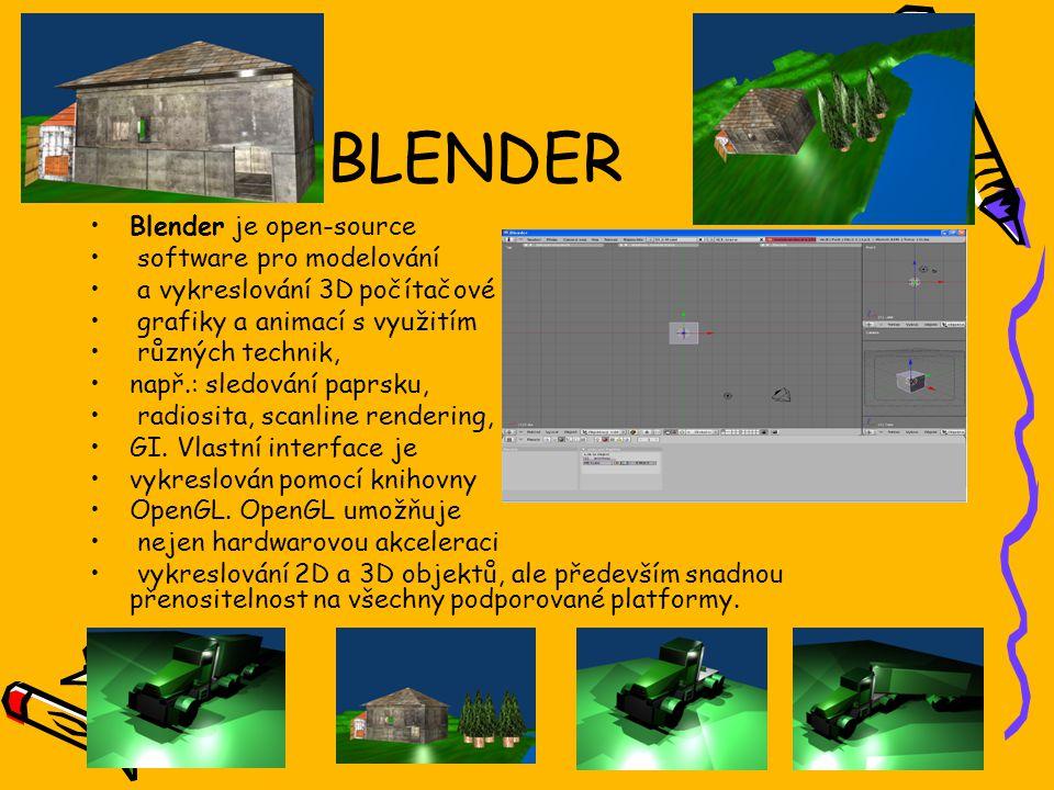 BLENDER Blender je open-source software pro modelování