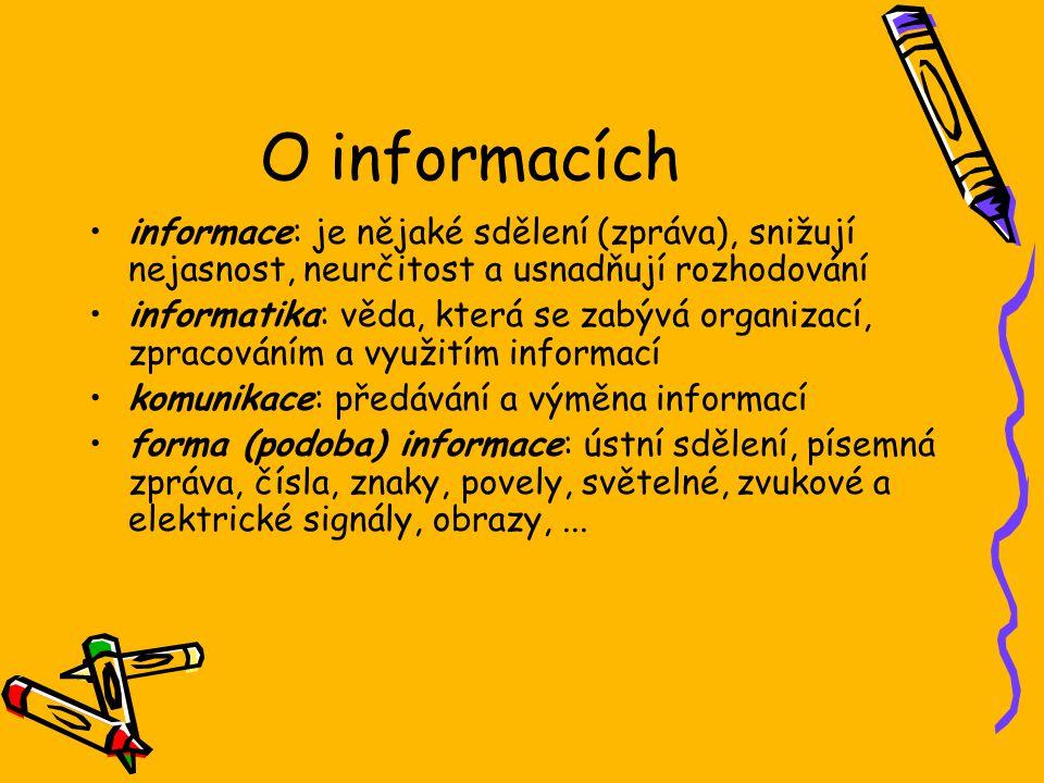 O informacích informace: je nějaké sdělení (zpráva), snižují nejasnost, neurčitost a usnadňují rozhodování.