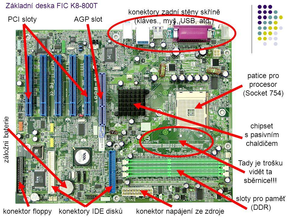 konektory zadní stěny skříně (kláves., myš, USB, atd.) PCI sloty