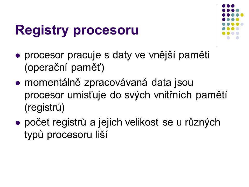 Registry procesoru procesor pracuje s daty ve vnější paměti (operační paměť)