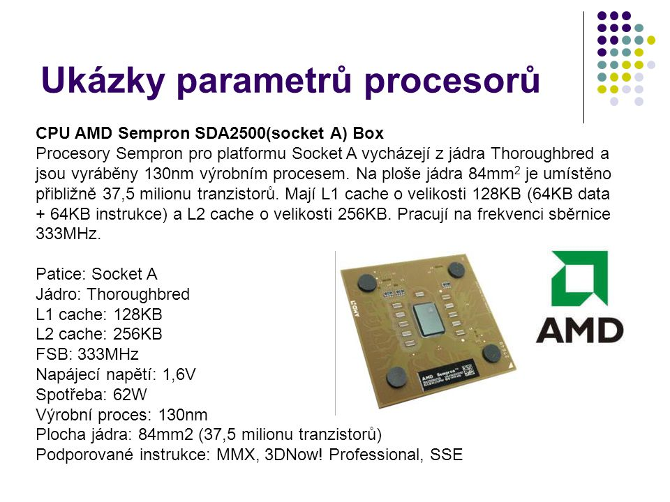 Ukázky parametrů procesorů
