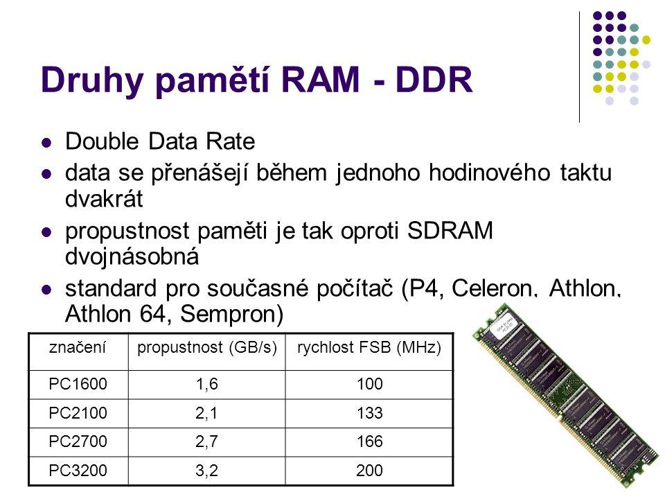Druhy pamětí RAM - DDR Double Data Rate