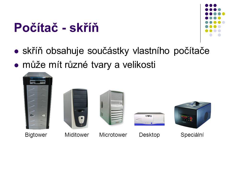 Počítač - skříň skříň obsahuje součástky vlastního počítače