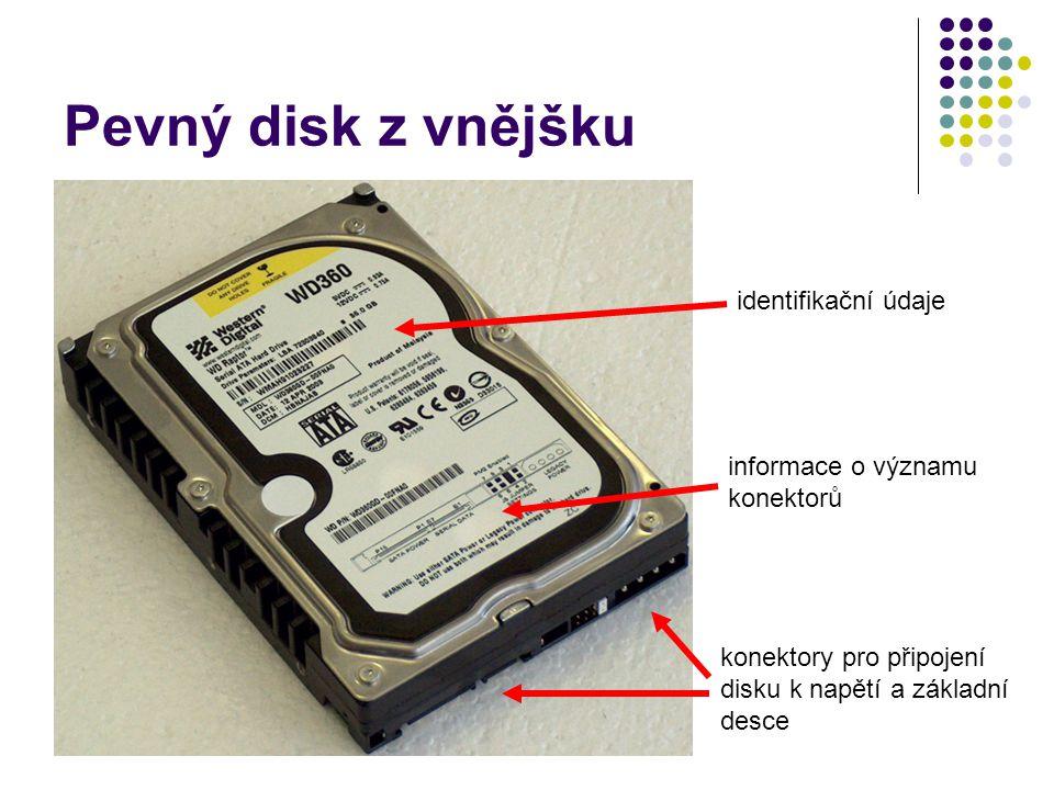 Pevný disk z vnějšku identifikační údaje informace o významu konektorů