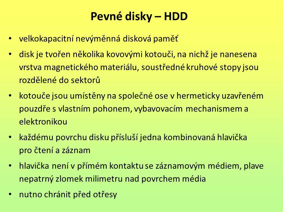 Pevné disky – HDD velkokapacitní nevýměnná disková paměť