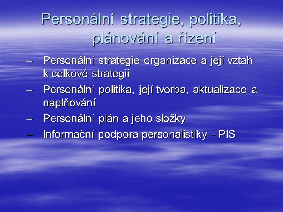 Personální strategie, politika, plánování a řízení