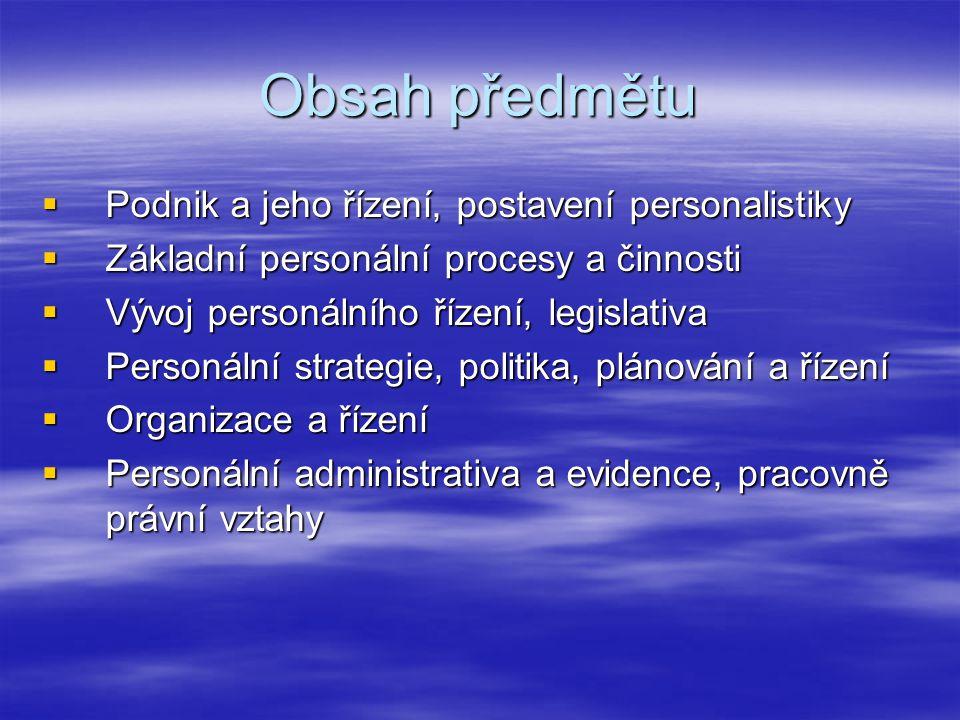 Obsah předmětu Podnik a jeho řízení, postavení personalistiky