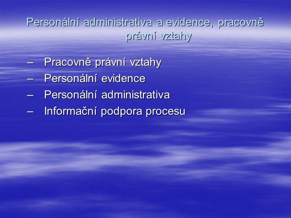 Personální administrativa a evidence, pracovně právní vztahy