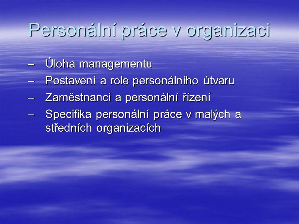 Personální práce v organizaci