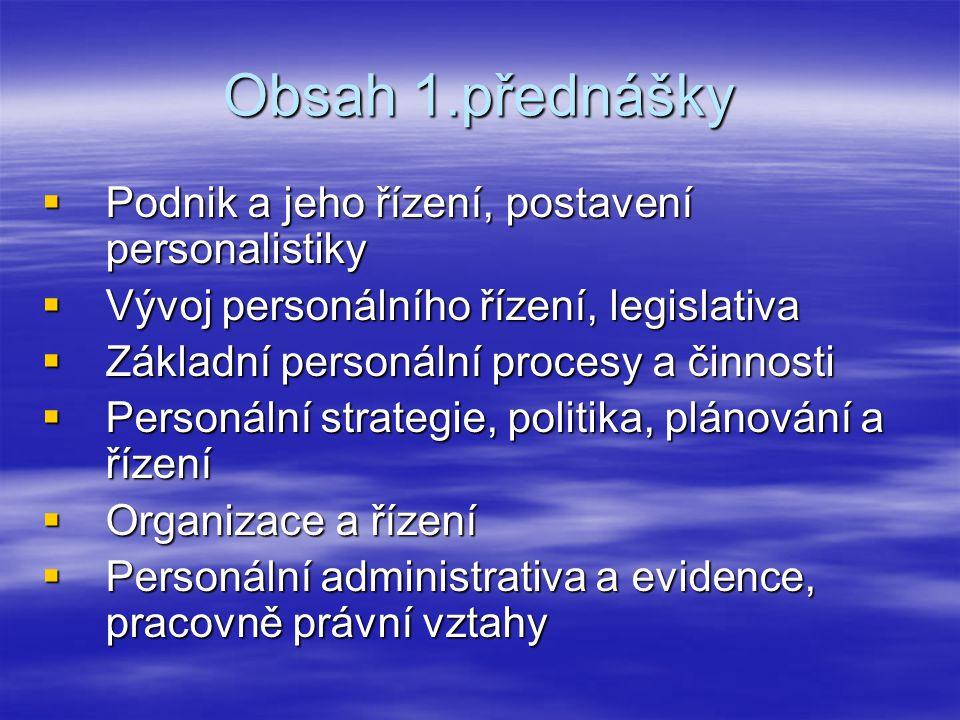 Obsah 1.přednášky Podnik a jeho řízení, postavení personalistiky