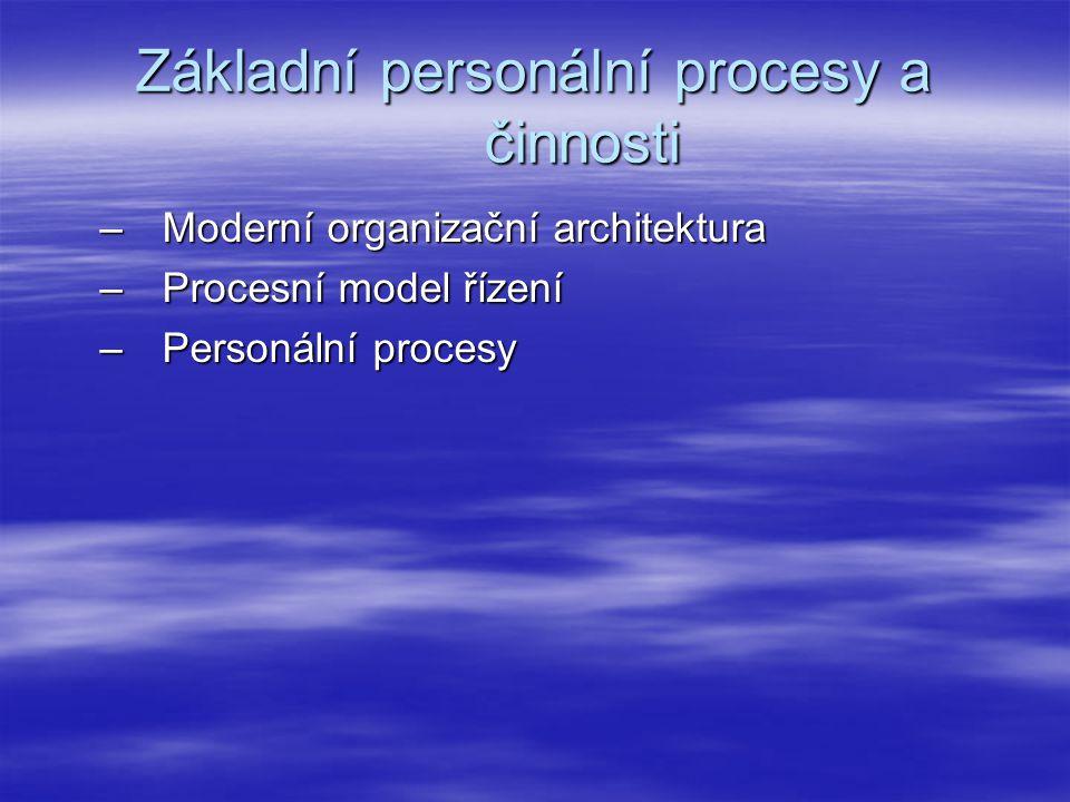 Základní personální procesy a činnosti